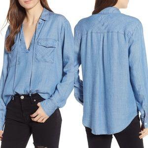 Rails Selena Chambray Popover Shirt Blue Linen Med